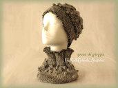 """Cappello e  Scaldacollo - """"Gocce di pioggia"""" - Completo di accessori di lana, fatto a mano, ai ferri."""