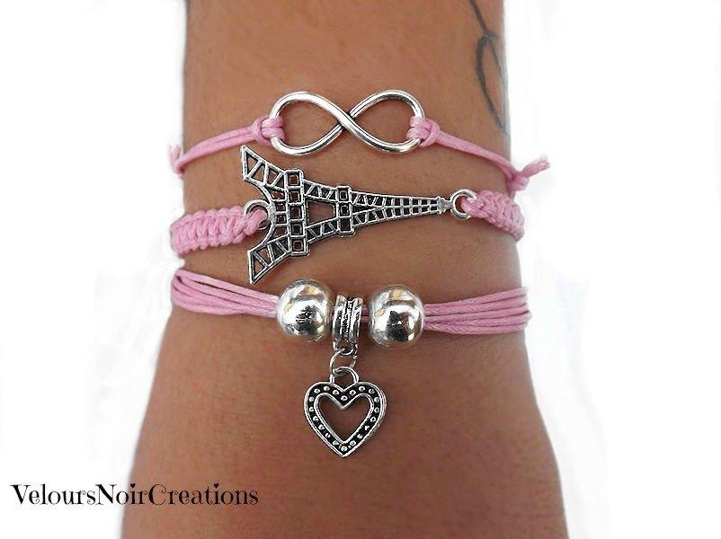 tris di bracciali simbolo infinito torre eiffel cuore creati a mano cordino rosa