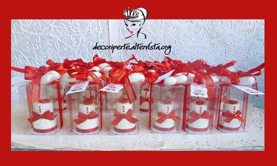 """Bomboniera Matrimonio """"ROSSA"""" con mini cake a 2 piani + 3 confetti"""