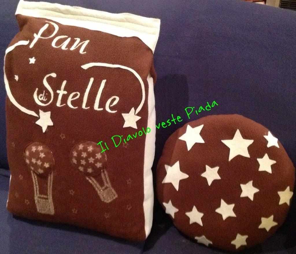 Cuscino Sacchetto Pan di Stelle con Biscotto