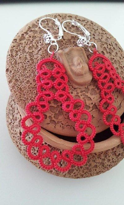 Orecchini Rosso Corallo in Pizzo Chiacchierino