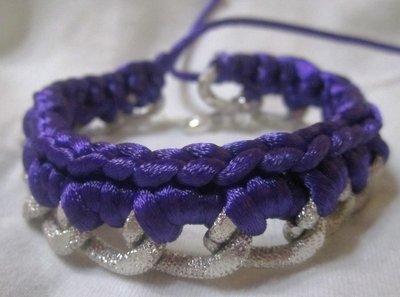bracciale color argento con coda di topo viola