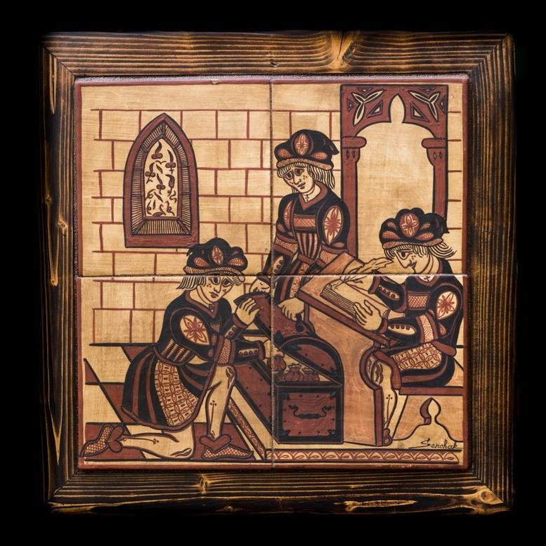 Bellissimo quadro in ceramica dipinto a mano, tecnica Socarrat. Ottimo regalo per degli studi professionistici con possibilità d'incissione del nome...