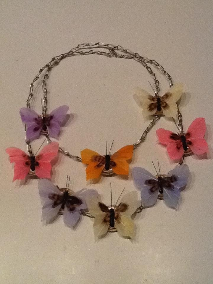 Coffee butterfly necklace - Collana con cialde Nespresso e coloratissime farfalle