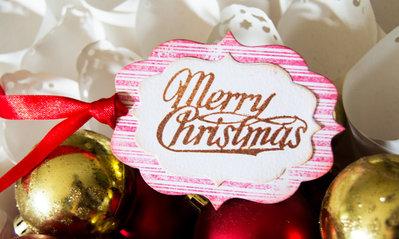 SALDI  Etichette 'Merry Christmas' 6 pezzi