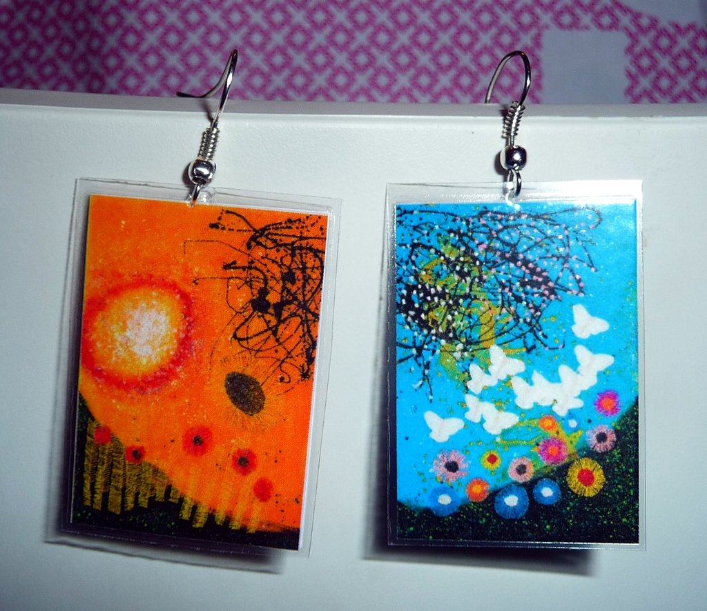 Paper&plastic earrings