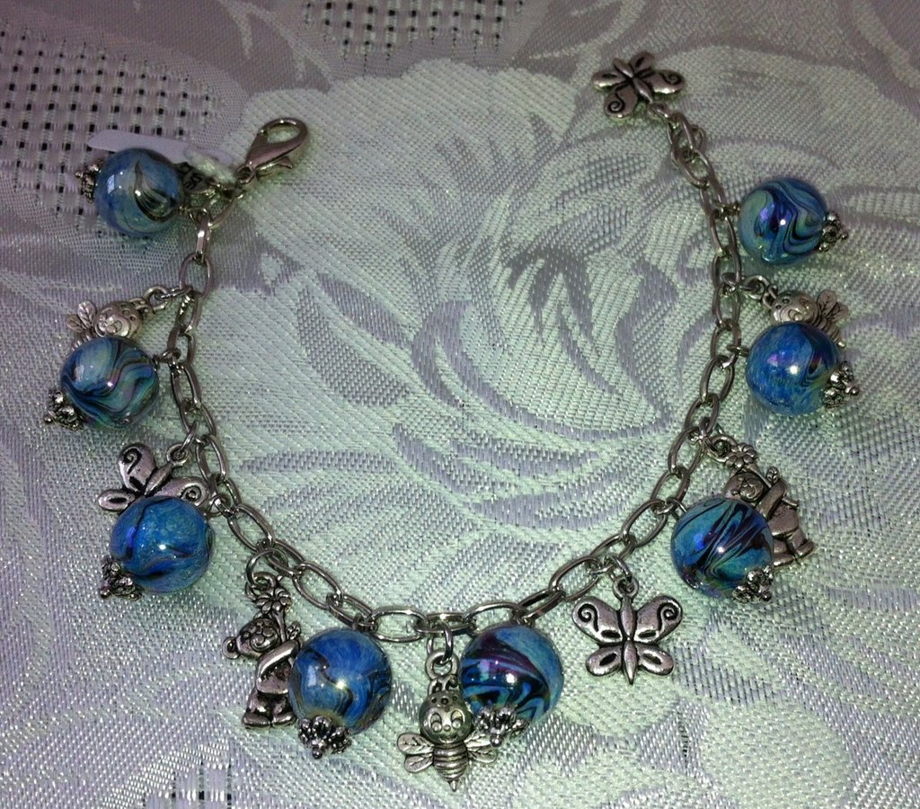 Braccialetto Charms Perle Azzurre