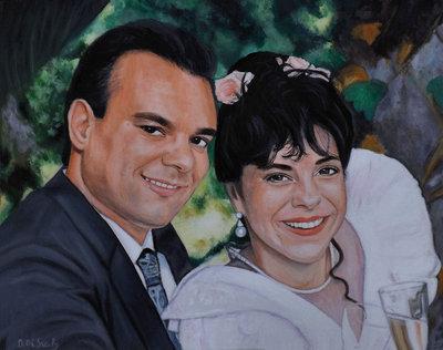 ritratto su commissione da foto olio su tela per sposi matrimonio anniversario idea regalo