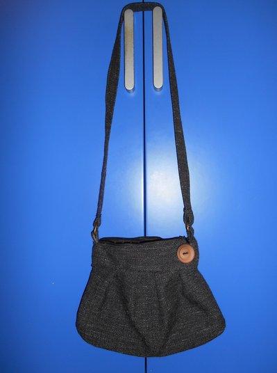 Borsetta a tracolla in lana grigio scuro