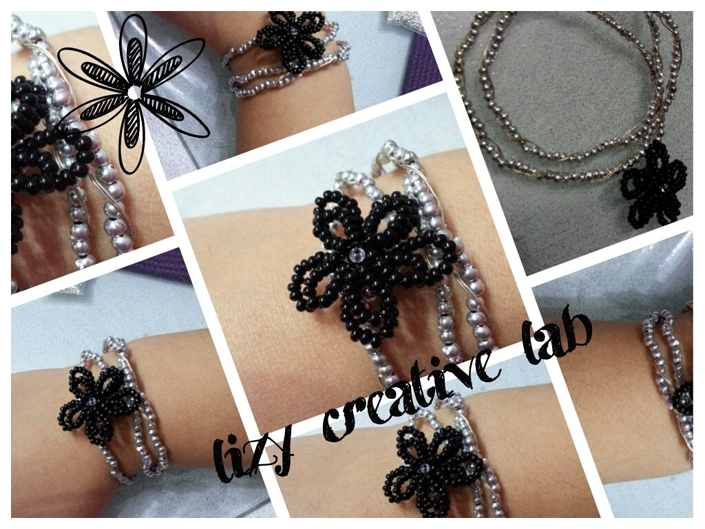 Bracciale triplo argento fiore nero