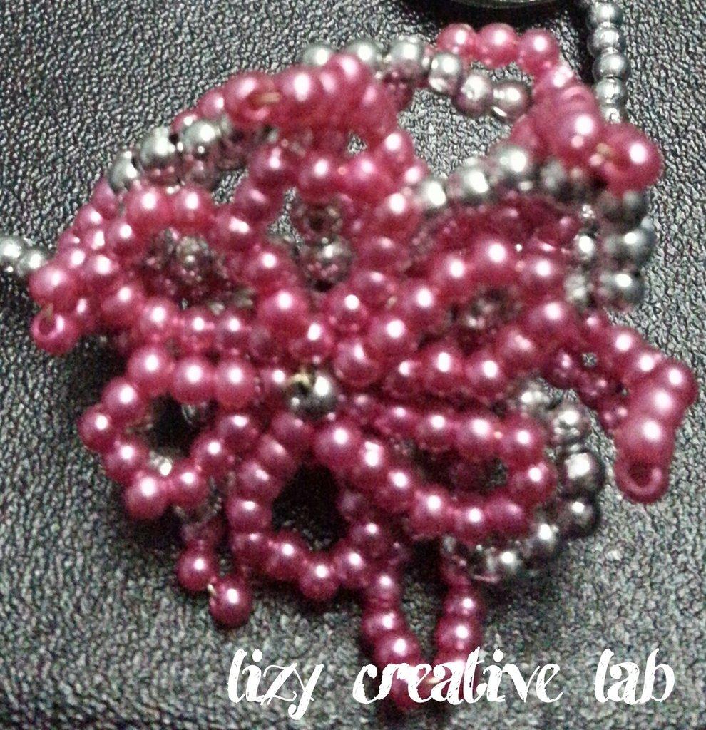 Bracciale fiore rosa argento