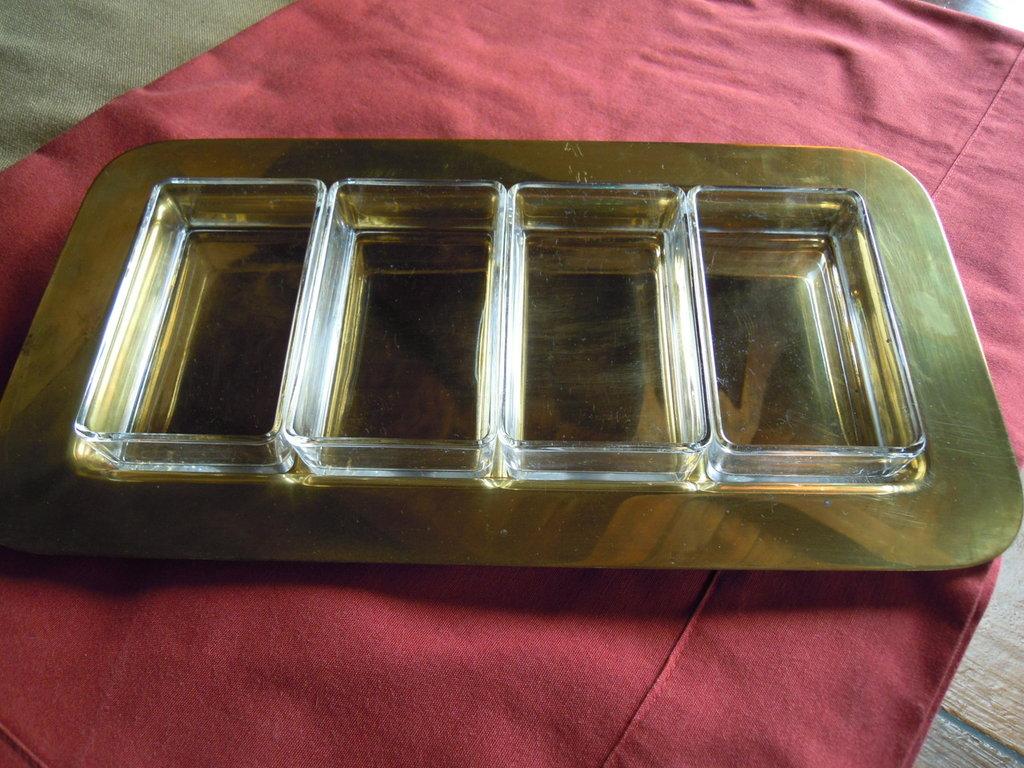 Antipastiera in ottone e cristallo