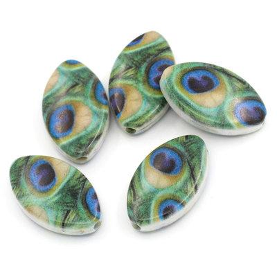 5 Perle Distanziatori Ovali  Verde Pavone 24mm x 14.5mm