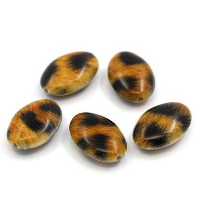 5 Perle Distanziatore Ovale Leopardato  20mm x 13.5mm