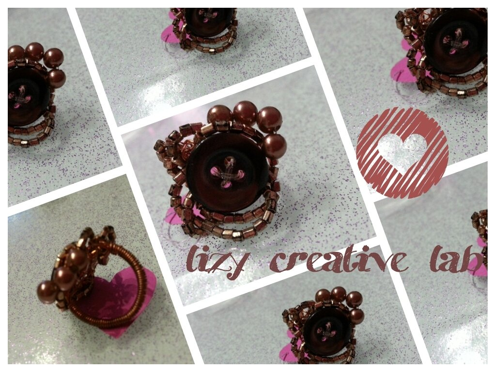 Anello bottone rame/marrone