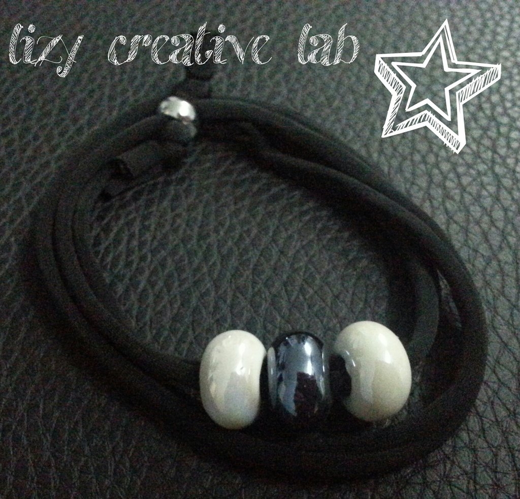 Bracciale fettuccia elastica nero/bianco