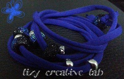 Bracciale fettuccia elastica blu