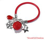 bracciale in caucciù rosso con fiocco di neve cristallo a goccia e perla crackle