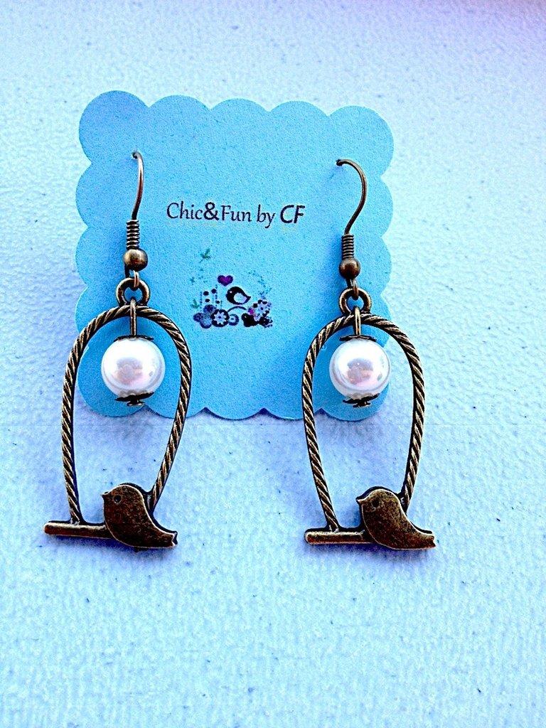 Orecchini vintage ucellini con perla