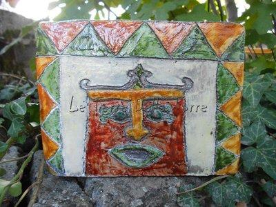 Vaso rettangolare in ceramica raku multicolori fatto a mano