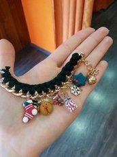 braccialetto natalizio fettuccia e catena