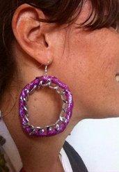 orecchini con nastro e catena
