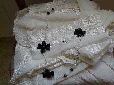 Collana Alida Nera con fiocchi