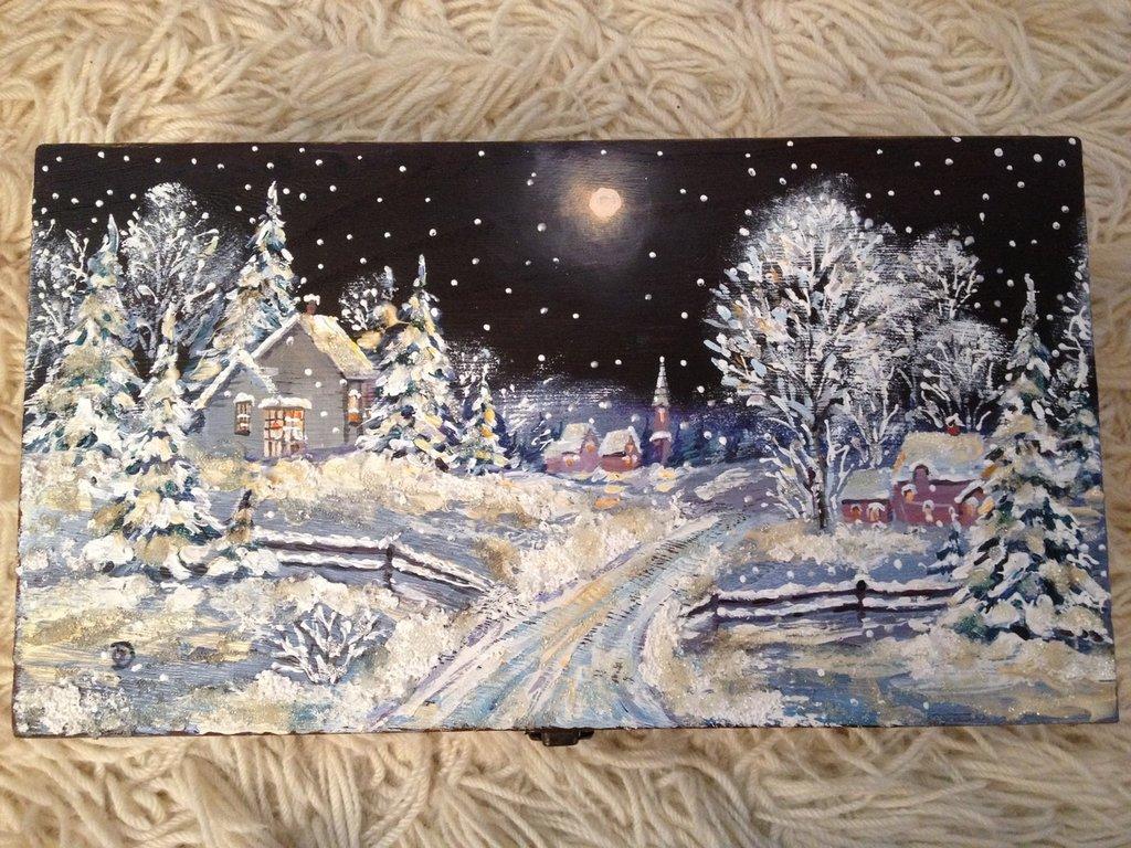 Scatola portabottiglie La notte di Natale