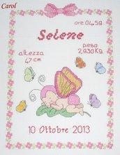"""Quadretto nascita - fiocco nascita - """"Bimba farfalla"""" -punto croce- B07"""