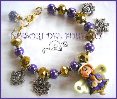 "Bracciale "" Natale 2013 Fufuangel Viola Oro "" angelo fimo cernit kawaii bijoux natalizi"