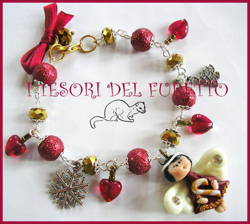 "Bracciale ""Fufuangel Natale 2014 Rosso Scuro Oro"" angelo fimo cernit kawaii"