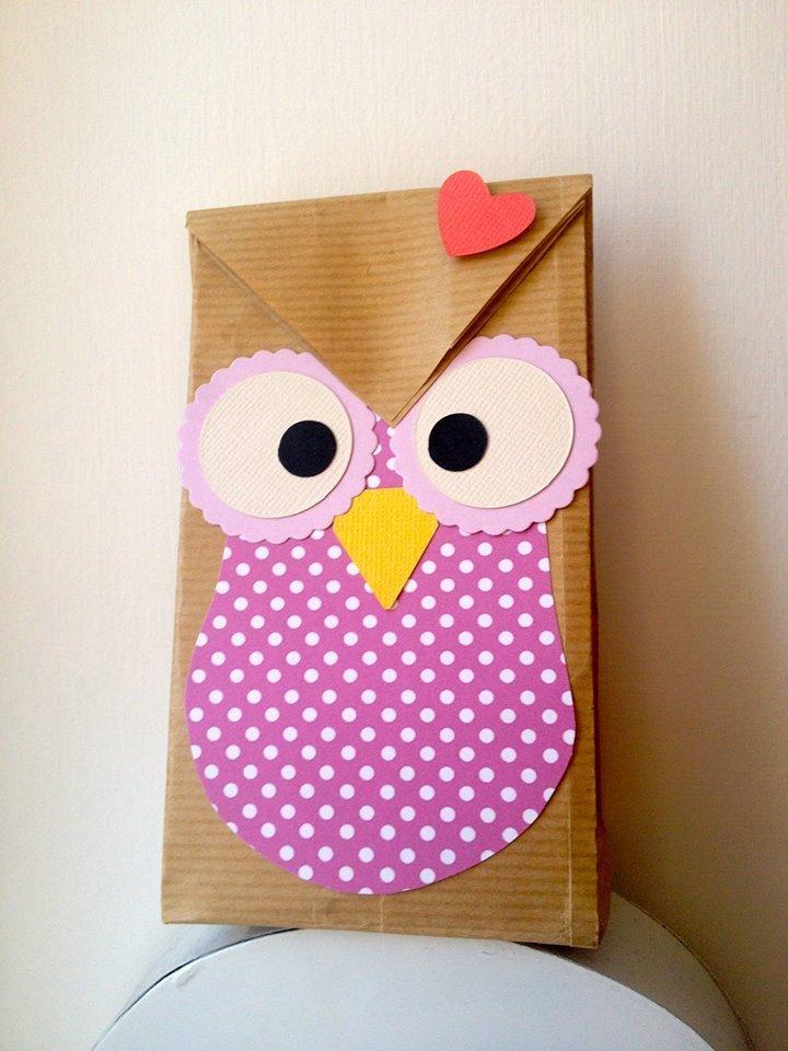 Sacchetti regalo o idea bomboniere con gufo fatti a mano for Oggetti usati in regalo