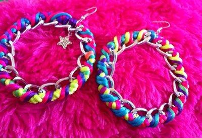 orecchini in corda e catena