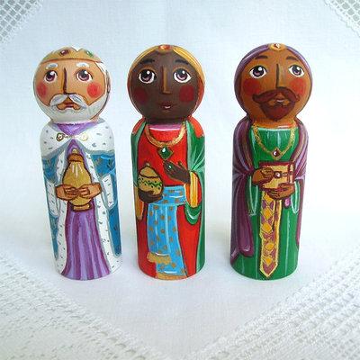 Tre Re Magi Natale natività presepe Sacra Famiglia bambola statuetta figurina
