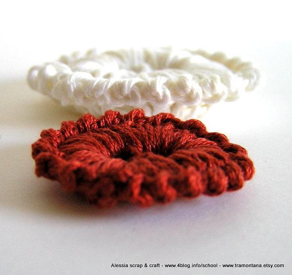 Bottoni a 2 fori da fare a crochet - uncinetto - Pattern schema PDF