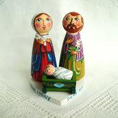 Sacra Famiglia Natale natività presepe cuore Gesù bambola statuetta figurina
