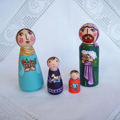 Famiglia di pastori Natale natività presepe pecore bambola statuetta figurina