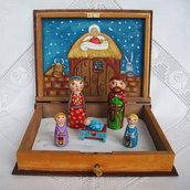 Natività presepe Sacra Famiglia caso scatola libro bambola statuetta figurina