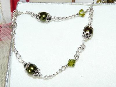 Bracciale argento e perle sw verde