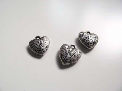 Charm cuore argentato 16x10 mm