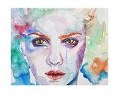 ritratto di donna ad acquerello