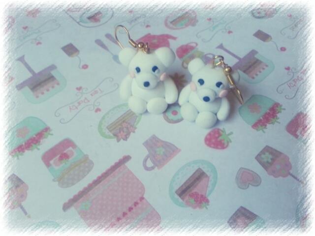 Orecchini orsetto polare fimo