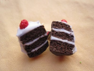earrings with miniature food - adorable Black Forest cake slice to wear - polymer clay cernit fimo