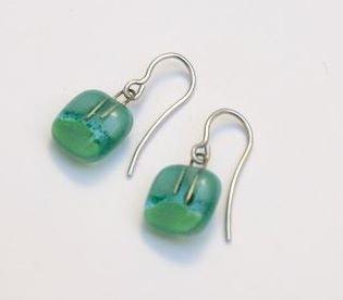 orecchino artigianale di vetro, gancio, 925, appendere orecchino, fondendo