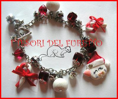 """Bracciale """"Natale Gattino Bianco """" fimo cernit perle rosso idea regalo"""