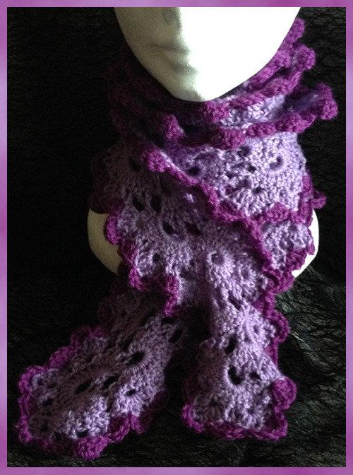 Sciarpa ad uncinetto - lilla viola