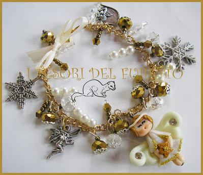 "Bracciale "" Natale 2014 Fufuangel ORO su catena"" angelo fimo cernit kawaii"