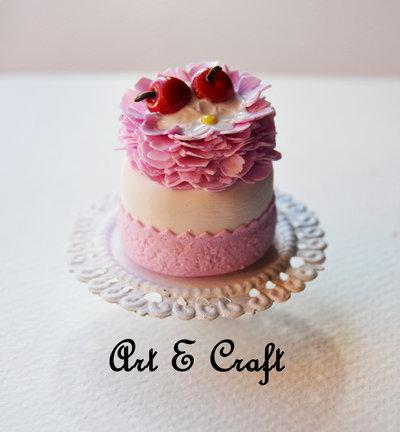 miny cake su alzatina in fimo