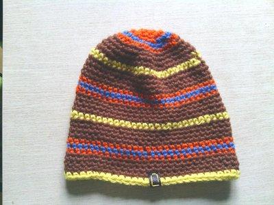 Cappello da ragazzo in lana  marrone a righe fatto a mano all'uncinetto C001