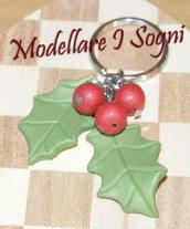 Portachiavi Pungitopo - Due Foglie Verdi con Tree Bacche Rosse Glitter - Perfetto Come Regalo Invernale o per Natale